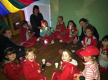 Teddy Bears Picnic in a make shift tent